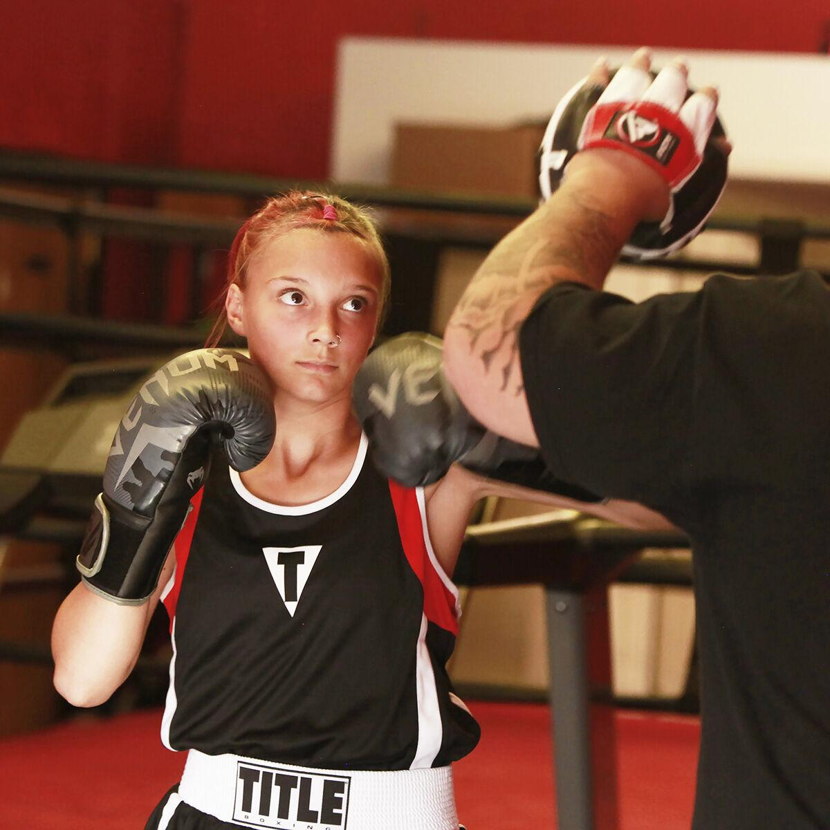 Willow Stangeland practices boxing