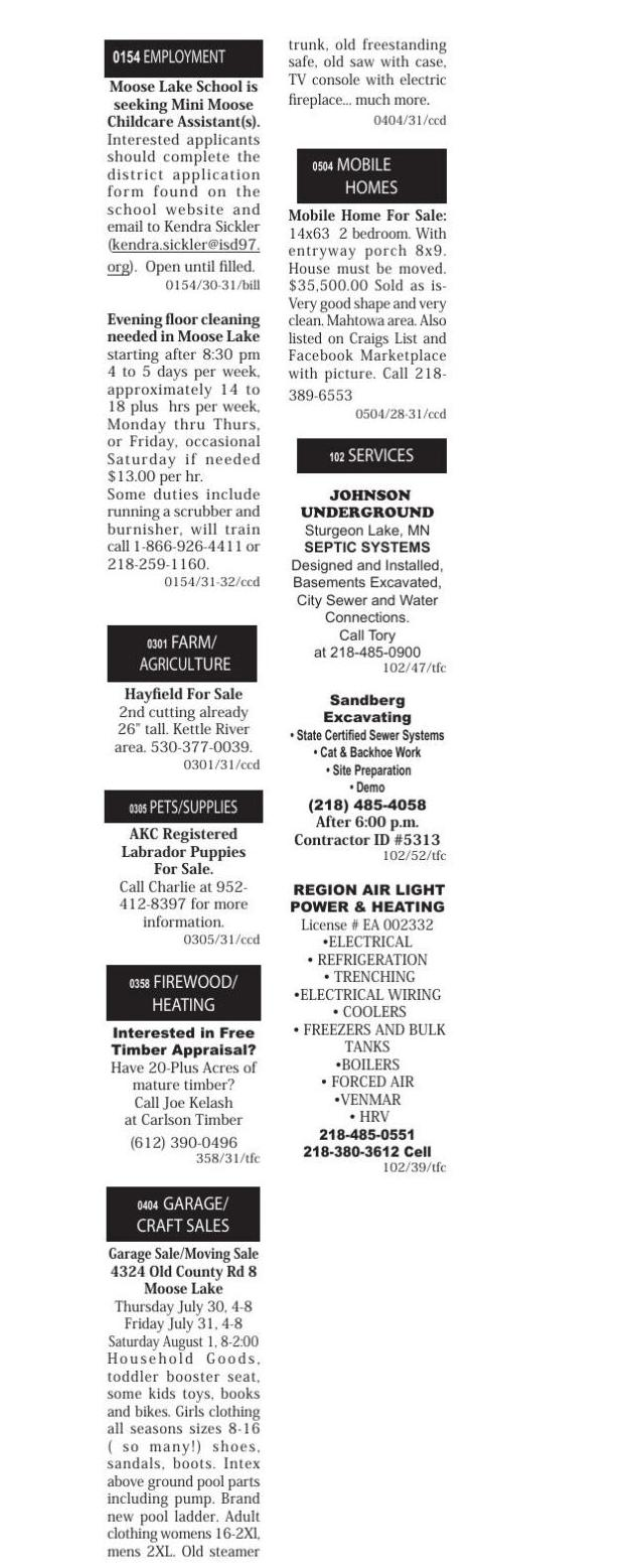 Classifieds July 30, 2020