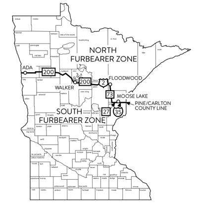 Minnesota forbearers trapping zone map