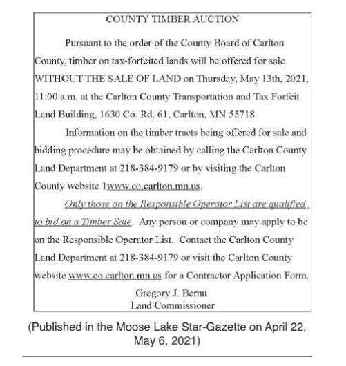 Carlton County Timber auction