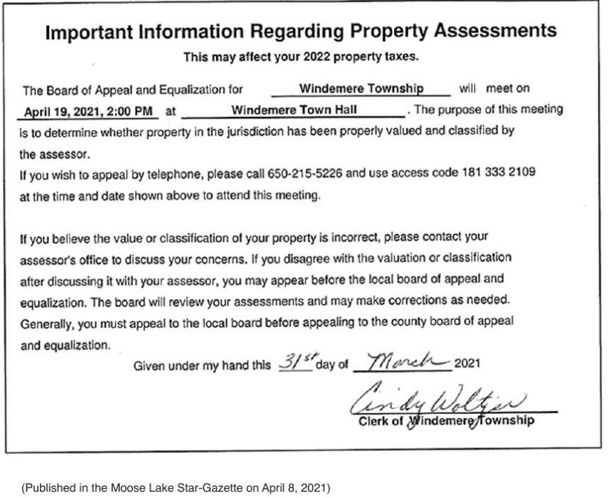 Windemere Township Property Assessment