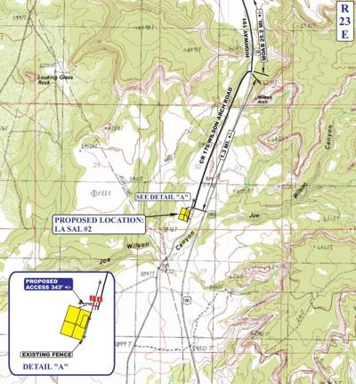 Map of oil well location proposed near Wilson Arch community