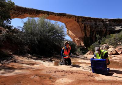 Geologists Jeff Moore and Paul Geimer