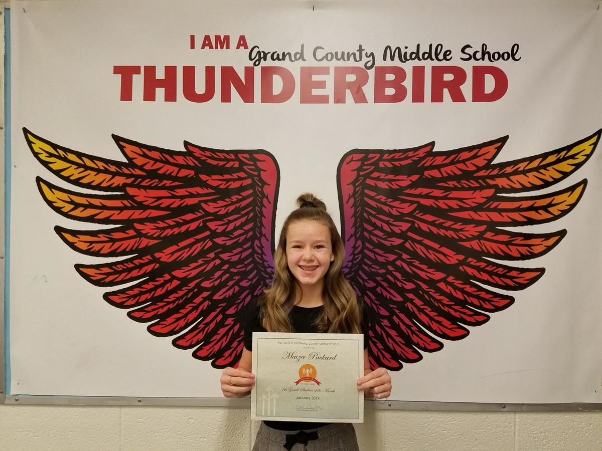 GCMS Student of the month Maizee Packard