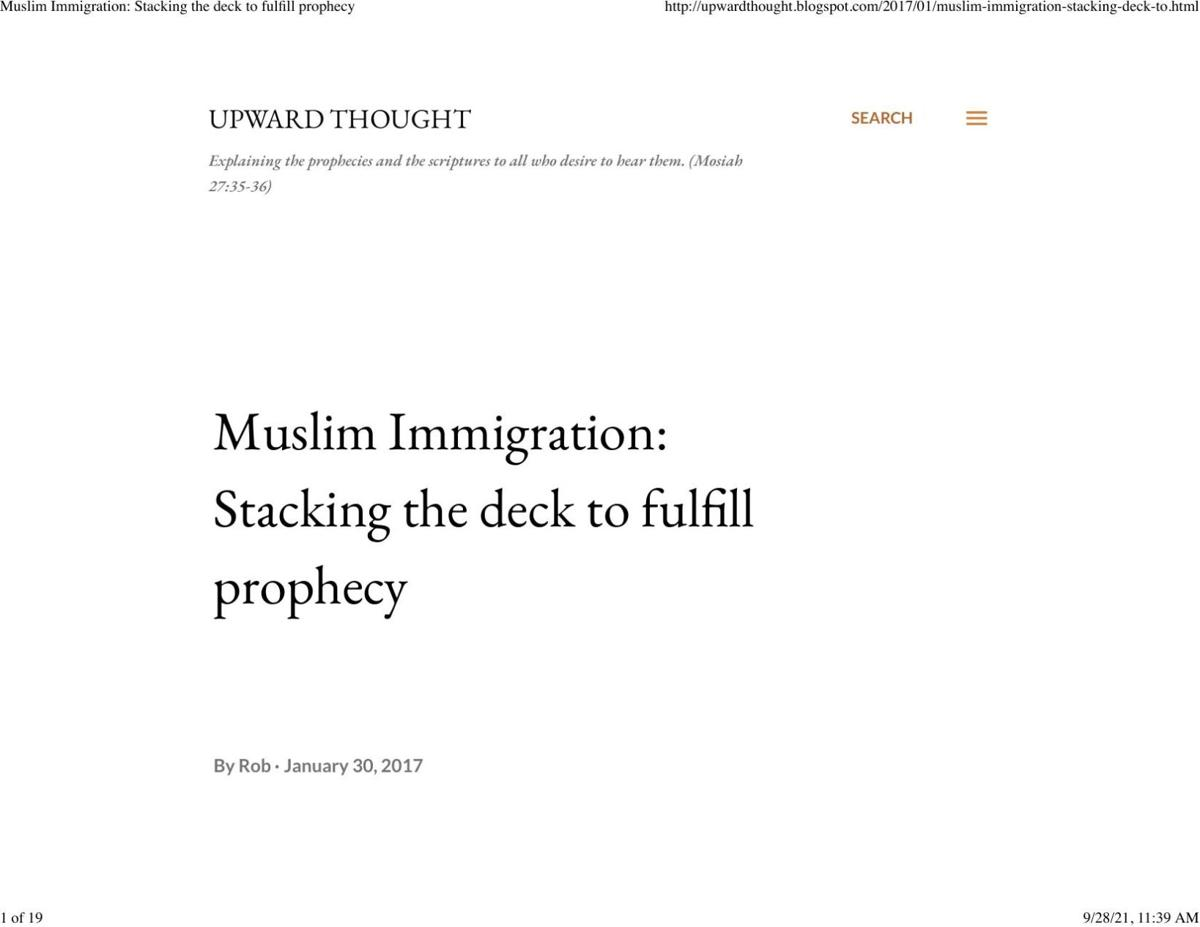 Muslim Immigration: Stacking the deck to fulfill prophecy