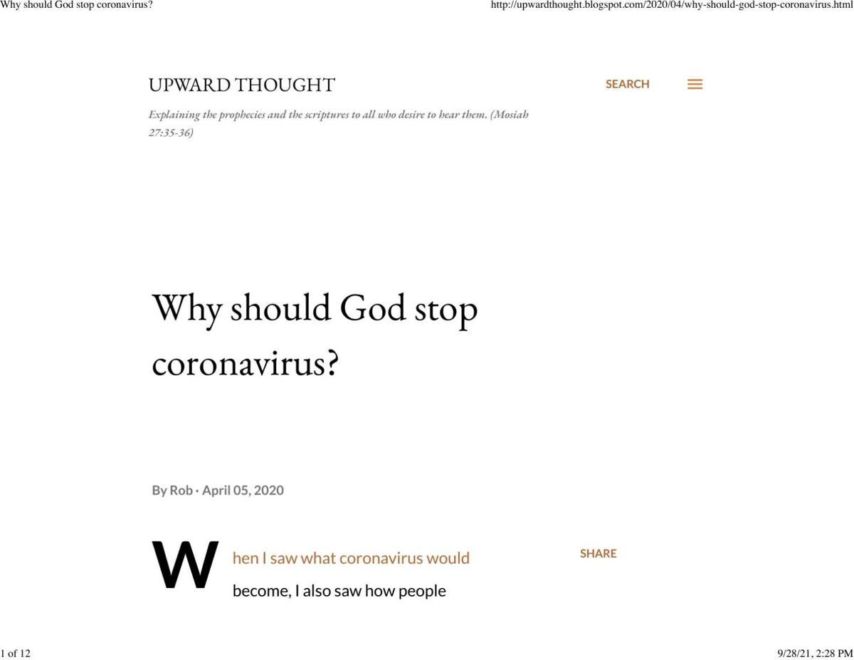 Why should God stop coronavirus?