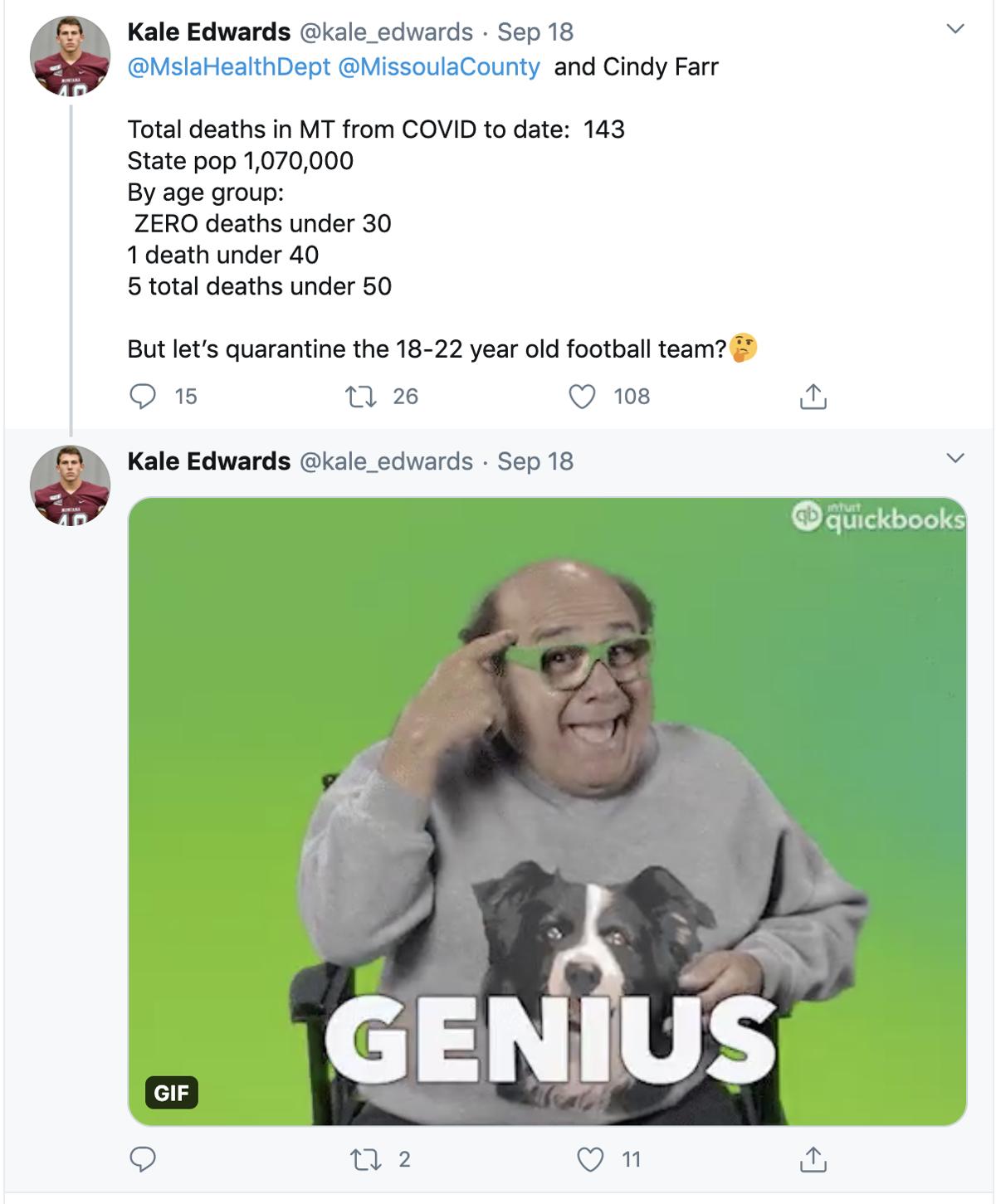 Kale Edwards' Tweet