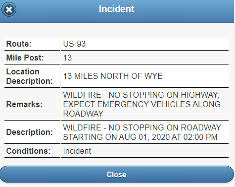 MDT incident no stopping on US-93 north of Wye