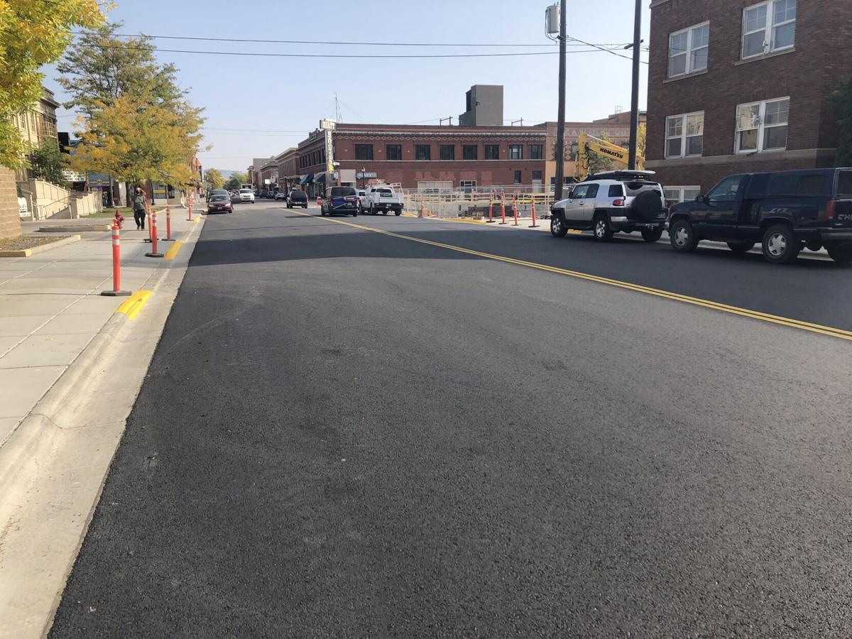 Newly finished road on Callender Street from 2nd Street to 3rd Street.