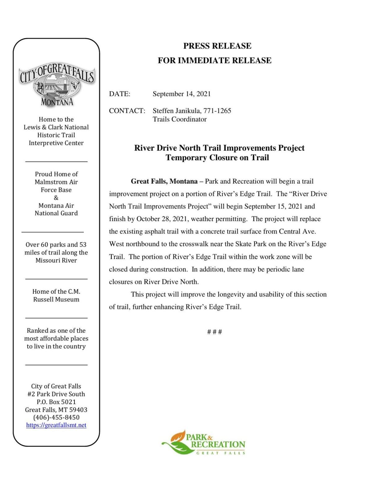 River Drive North Trail Improvements Project Temporary Closure on Trail