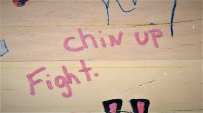 """""""Chin Up. Fight"""" addiction recovery message"""