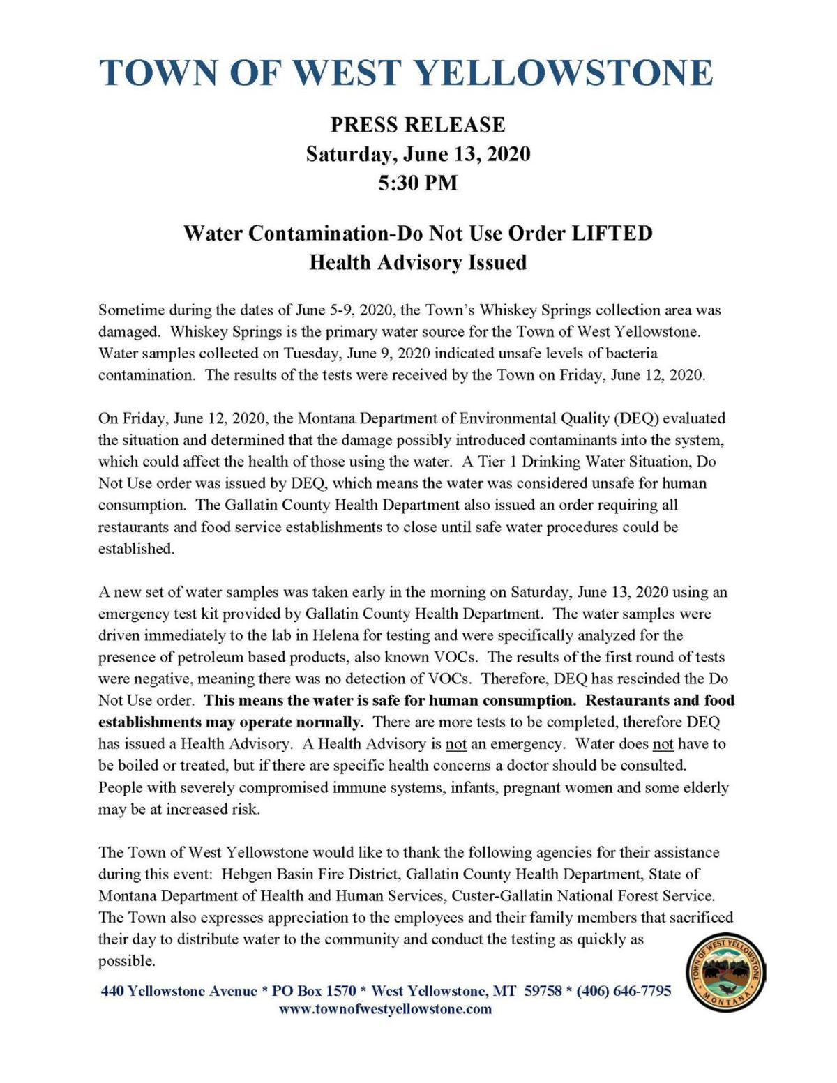 Town of West Yellowstone release