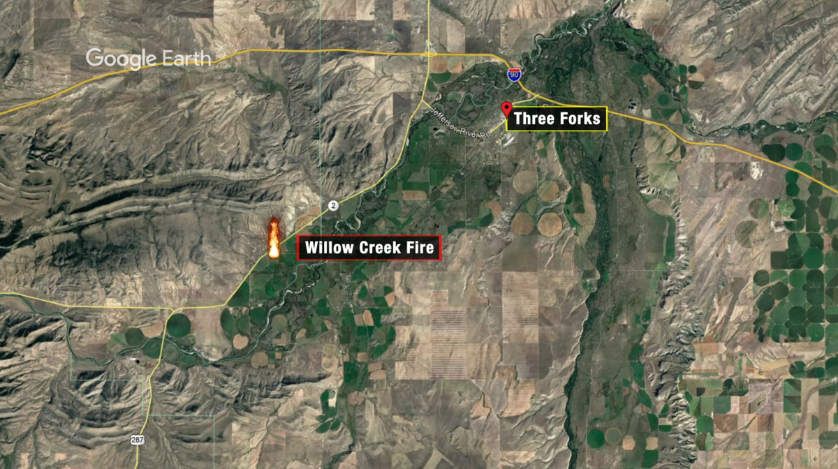 Crews working to contain Willow Creek Fire near Three Forks Junction