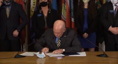 Governor Gianforte signing House Bill 102 Feb. 18
