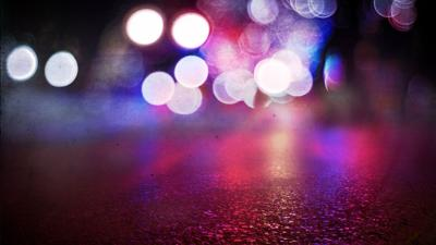 Police lights on road stock image