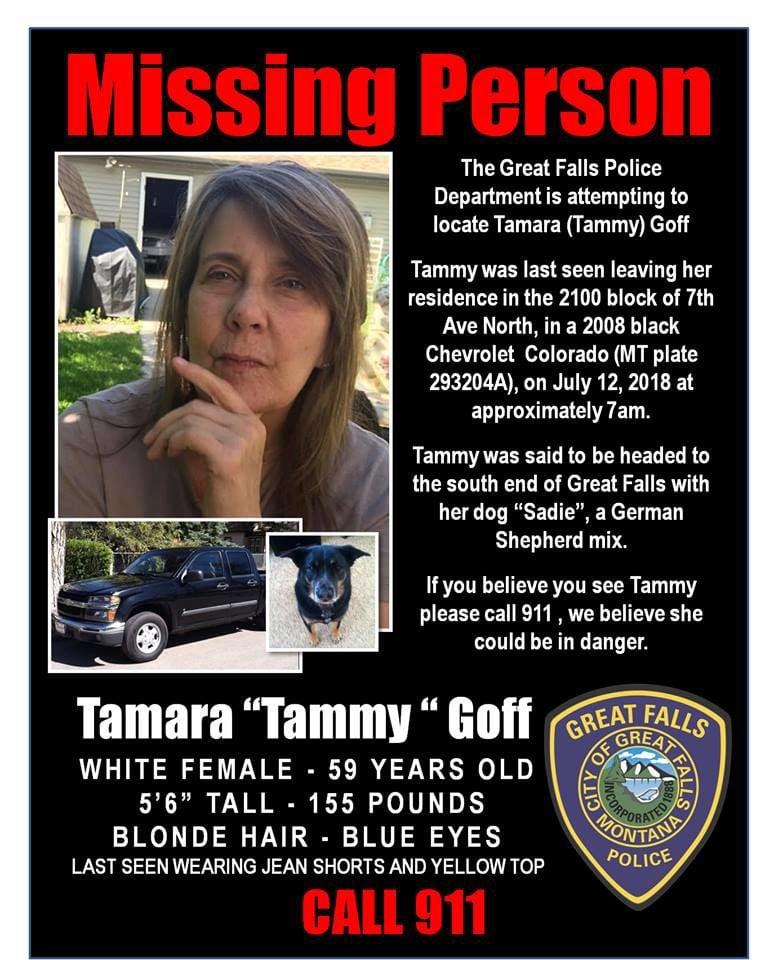 "GFPD needs the public help to find Tamara ""Tammy"" Goff"