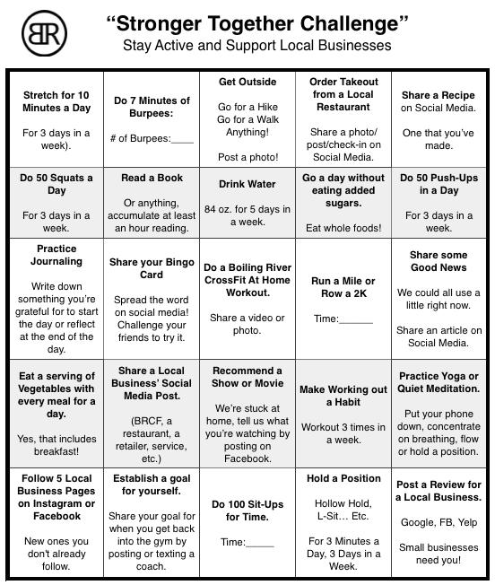 Stronger Together Challenge bingo sheet