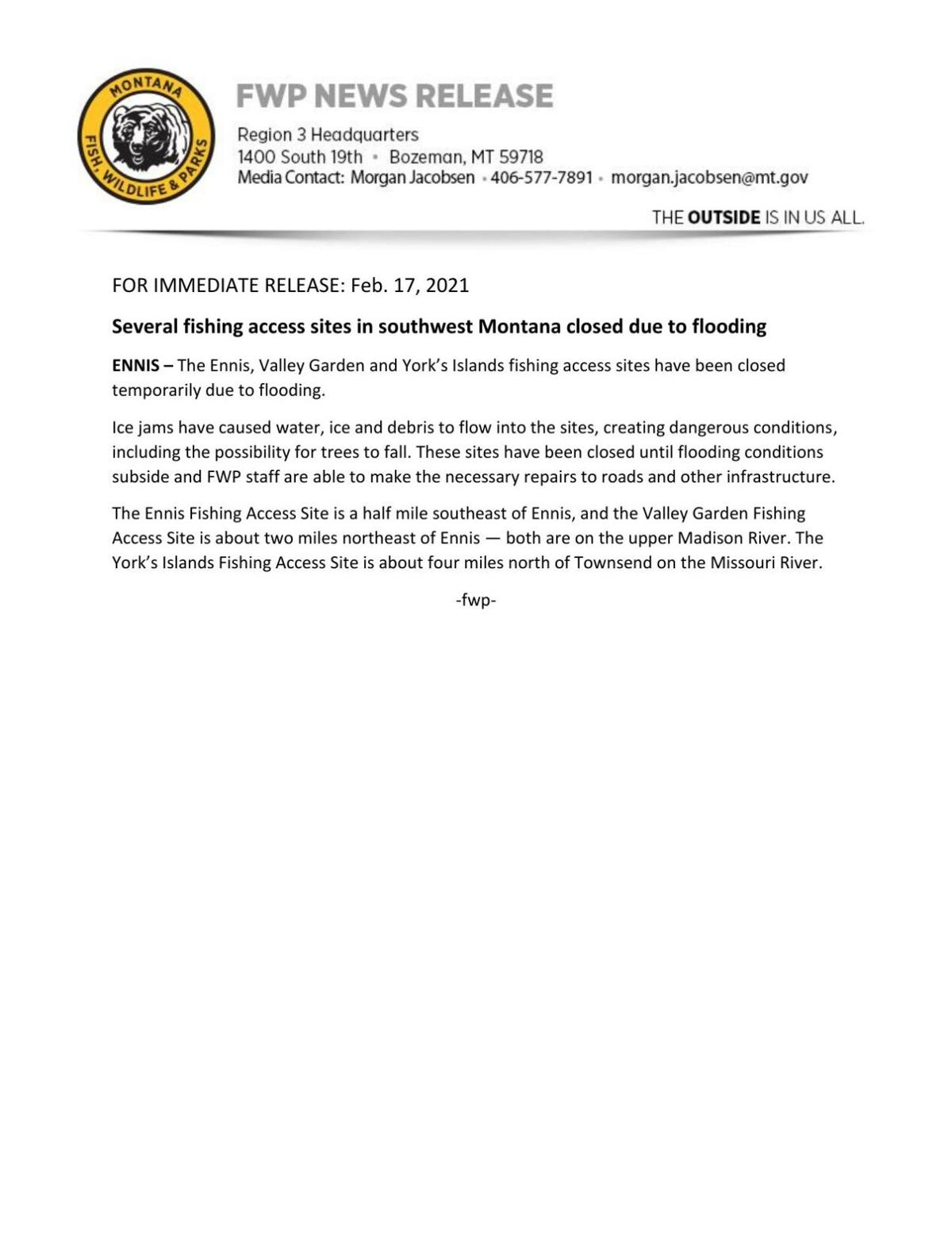 Several fishing access sites in southwest Montana closed due to flooding