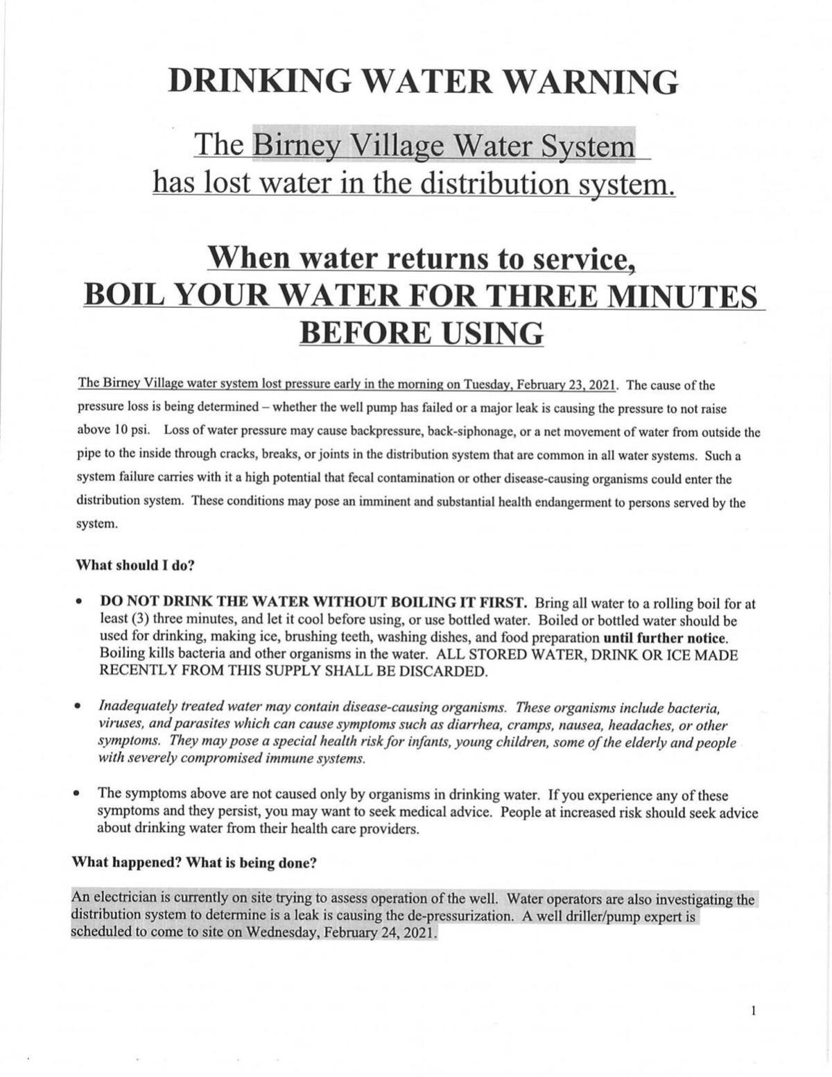 Birney water boil