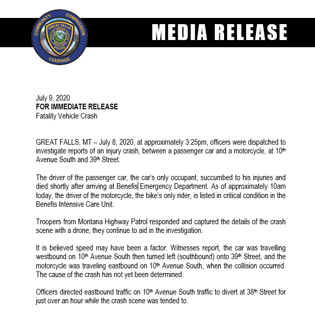Great Falls Police Department major crash release