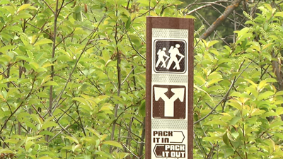Hiking sign in Sluice Boxes State Park