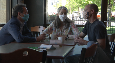 Governor Steve Bullock meets with Bozeman cafe owners regarding the reopening process and grants from the state