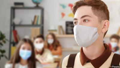 Students wearing face masks in school