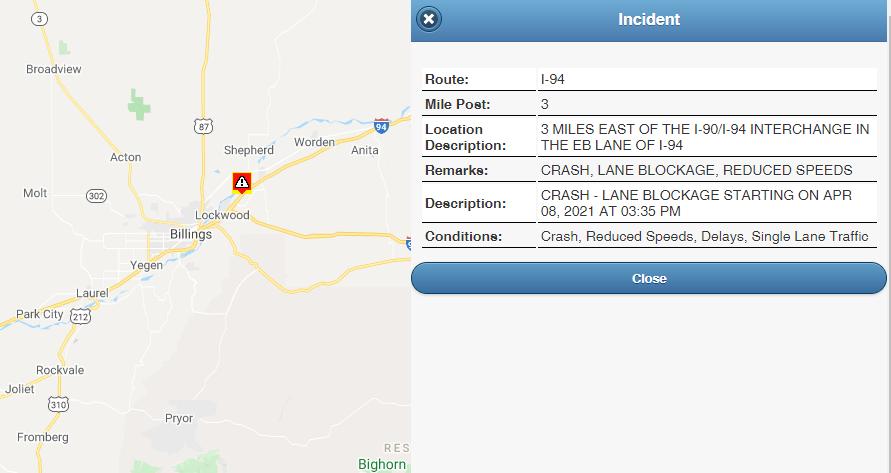 Crash reported on I-94, lane blockage