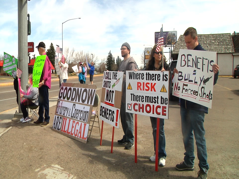 Protest happening on 10th Ave. after Benefis requires employees to get COVID-19 vaccine