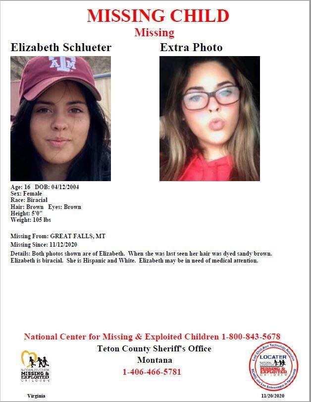 Missing 16-year-old, Elizabeth Schlueter