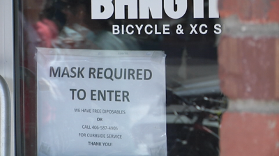 """""""Mask required"""" sign Bangtail bikes"""