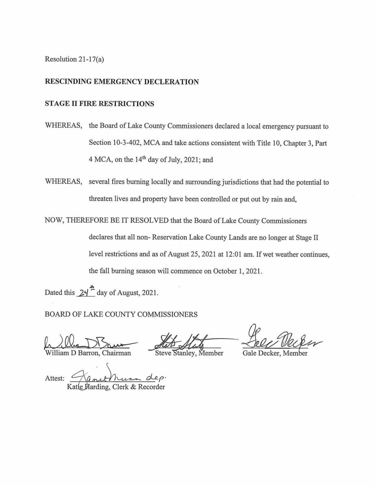 Lake Co. lifts Stage II fire restrictions