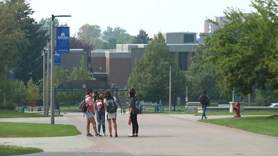 MSU students on Centennial Mall