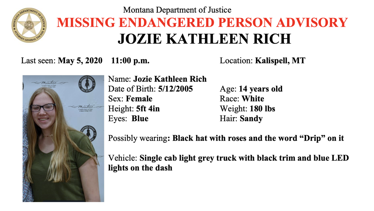 Missing person advisory issued for girl out of Flathead County
