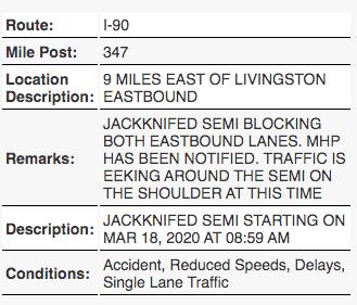 TRAFFIC ALERT: Jackknifed semi on I-90 outside Livingston blocking lanes