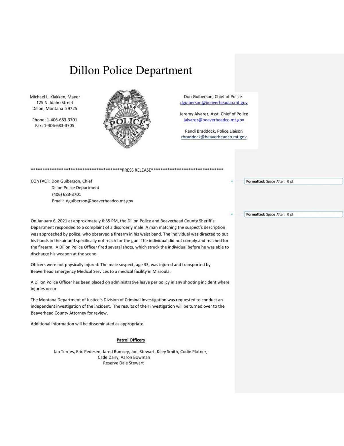 Dillon Police Department officer involved shooting press release