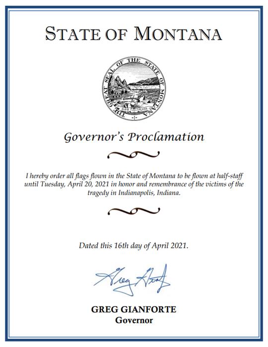 Gov. Gianforte flag order