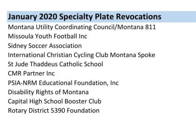 January 2020 Specialty Plate Revocations