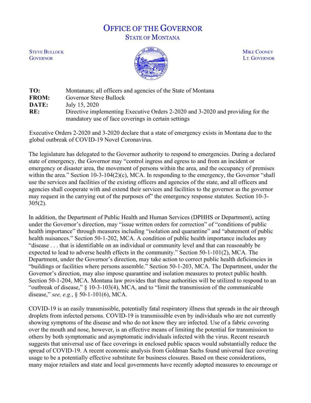 Governor Steve Bullock Mask Directive