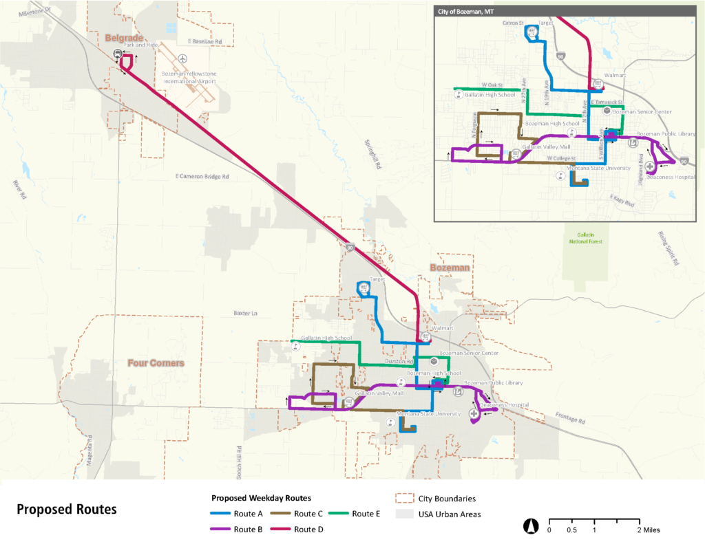 Proposed routes