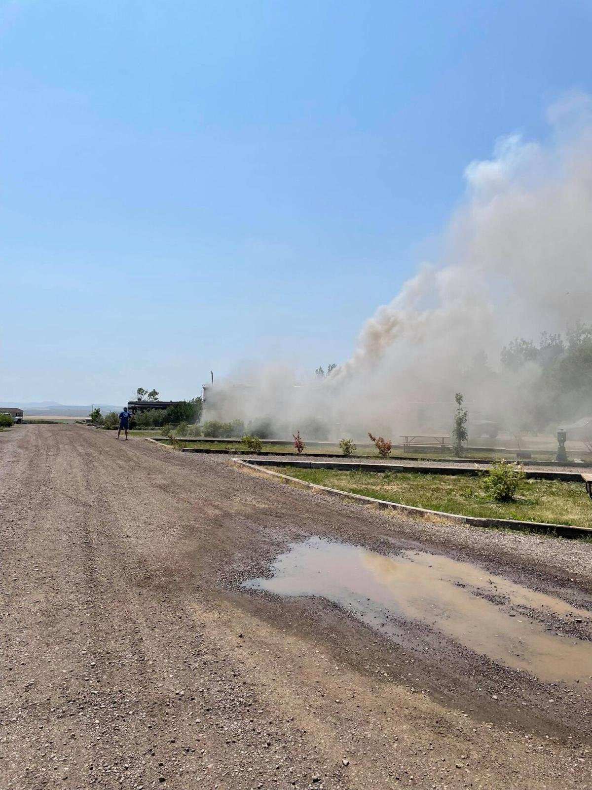 RV on fire at KOA in Great Falls