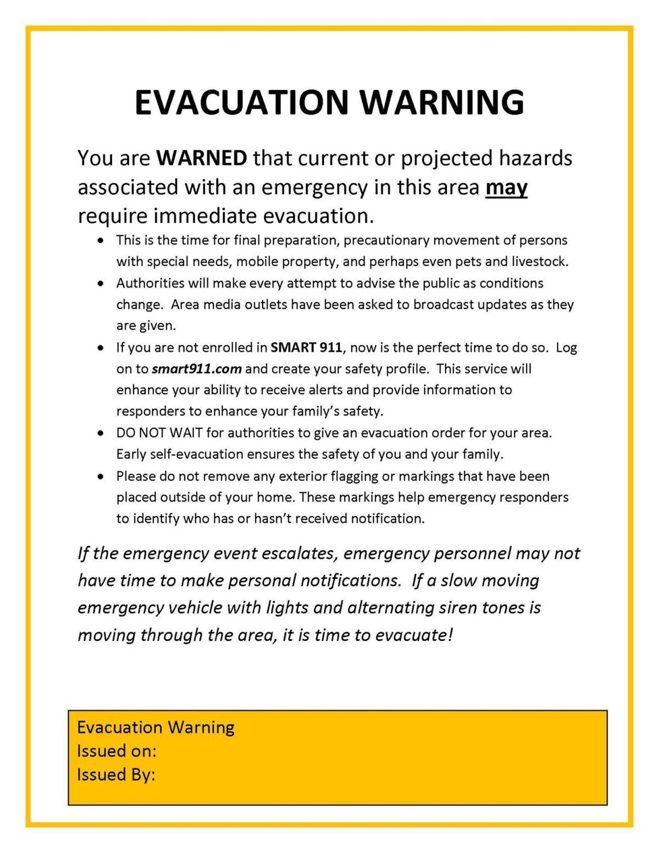 Evacuation warning document