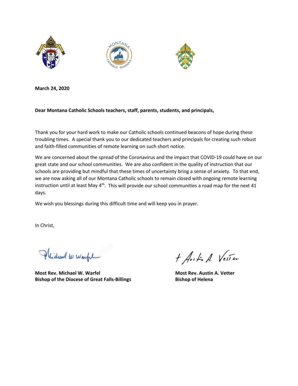 Montana Catholic Schools Closure Letter