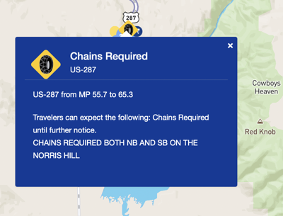 Chains required on HWY 287 on the Norris Hill
