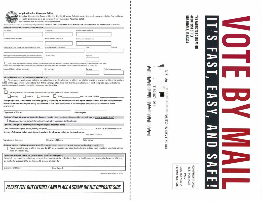 Vote by mail registration forms being sent out across Montana, legal