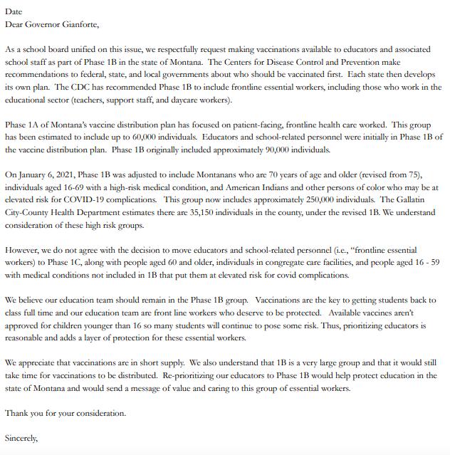 Letter to Gov. Gianforte