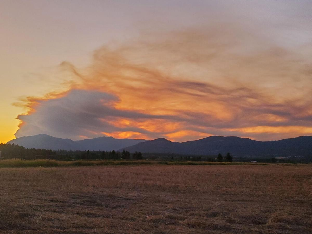 Evening view of the Thorne Creek Fire from ICP