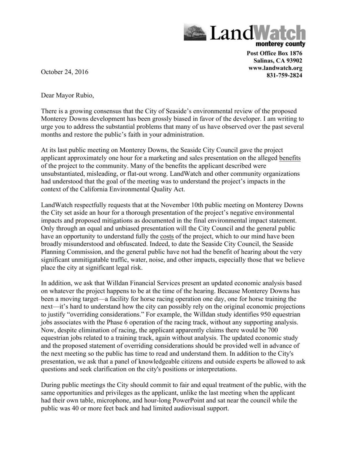 LandWatch letter to Seaside City Council