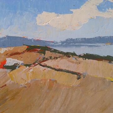 """""""Seaside Dunes,"""" acrylic on board by Zoya Scholis"""