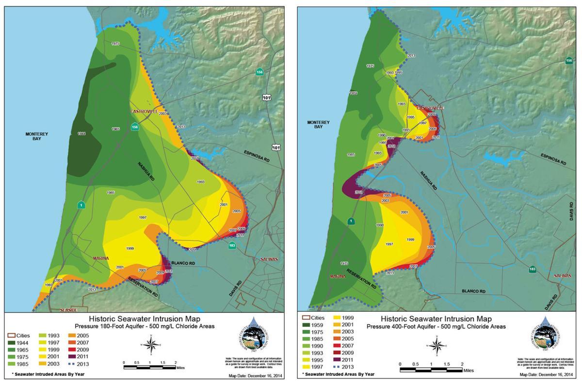 Marina Coasts Prehistoric Water Supply Is Not Replenishing - Saltwater intrusion map us